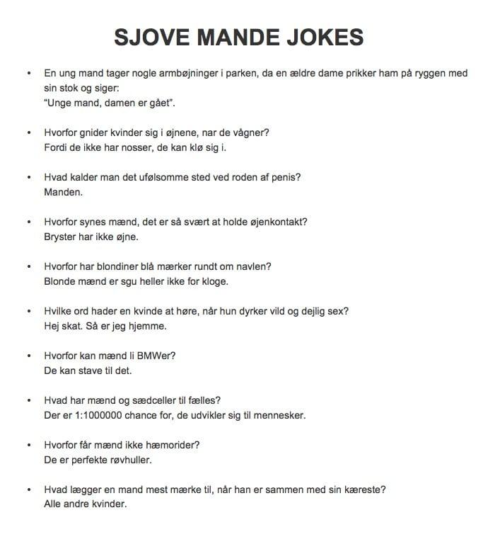 gode jokes om mænd hedomax